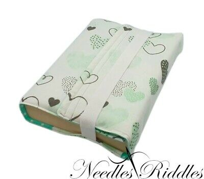 HANDMADE Re-usable Fabric Book Cover Protector Valentine's Turquoise ! FREE P&P!