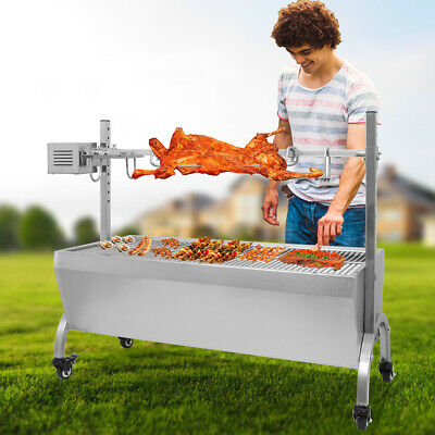 Large Stainless Steel BBQ Spit Roaster Rotisserie Cooking Pork Lamb Chicken 35""