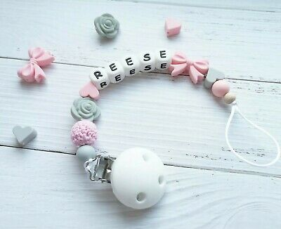 Personalised Silicone Beads Dummy Clip Holder Bow Heart Flower BPA Free