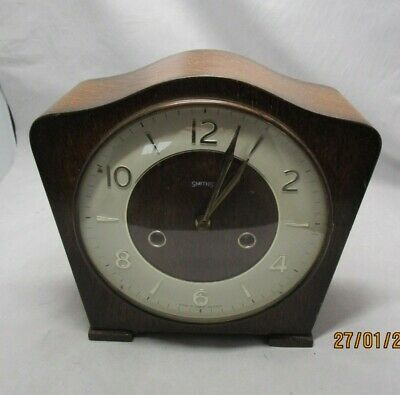 1930's Smiths striking mantel clock for restoration with key and pendulum
