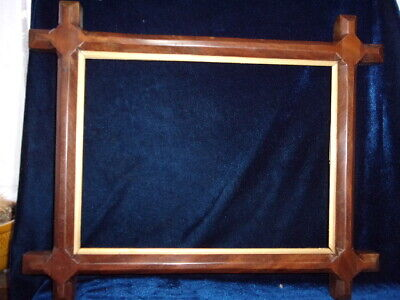 An Antique 'Arts & Crafts', 'Gothic' Mahogany Carved Picture Frame.