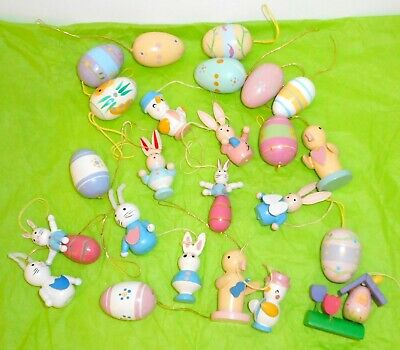 Vtg EASTER TREE ORNAMENTS 24 Wood Bunny Rabbits Chicks Eggs Birdhouse Painted