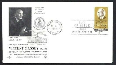 Canada  # 491  ROSECRAFT VINCENT MASSEY COVER   Brand New 1969 Unaddressed Cover
