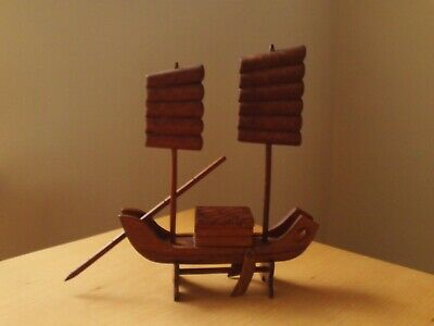 Vintage Oriental Chinese / Japanese Carved Wooden Boat Okimono.