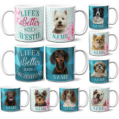 Personalised Dog Breed Mug Cute Pet Cup Love My Puppy Birthday Gift KP