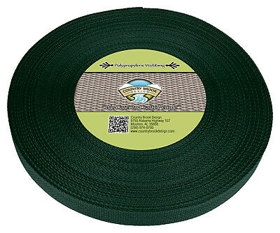 Country Brook Design® 1 Inch Green Polypro Webbing, 25 Yards