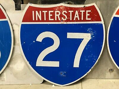 Retired TEXAS INTERSTATE 27 LUBBOCK Amarillo OLD Sign Man Cave Restaurant DECOR