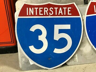 Retired INTERSTATE 35 LAREDO TEXAS to DULUTH MINNESOTA OLD Sign Man Cave DECOR