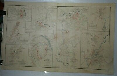 Vintage 1865 Map of Civil War Battles, from Atlas of Union + Confederate Armies
