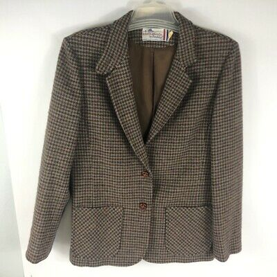 Vintage Pendleton Knockabouts Women's Lined Wool Houndstooth Blazer Size 16