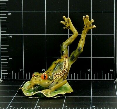Frog Leaping Lily Pad Figurine Trinket Latch Box Enamaled Iron or brass