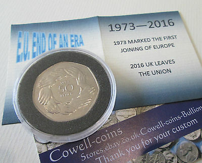 END OF AN ERA Royal Mint 1973 BUnc Coin FIFTY Pence 50p EEC OUT OF EU 2020