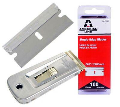 100 Traditional One Sided Single Edge Safety Razor Blades & Free Holder Scraping