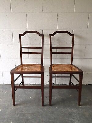 Pair of Antique Inlaid Hall Chairs with Cane Seats