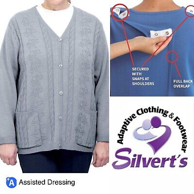 Women's Silvert's Cardigan Sweater Gray, Adaptive Clothing, shoulder surgery, XL