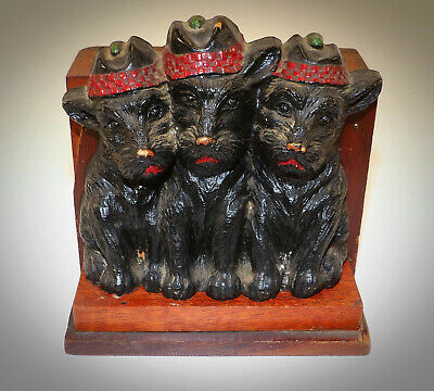 Art Deco Scotty Scottie Dog Scottish Terrier Desk Pencil Pen Brush Holder CUTE