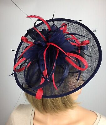 Navy Blue and Red fascinator Wedding Hat Mother Of The Bride Ascot Races