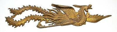 Antique Large Flying Pheasant Bird Accurate Cast Gold Art Wall Hanging Over Door