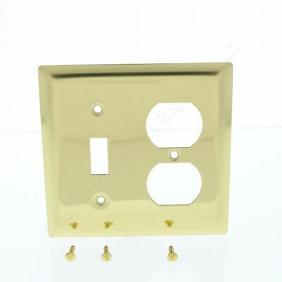 P&S Polished Solid Brass 2-Gang Toggle Switch Cover Outlet Wallplate SB18-PBCC