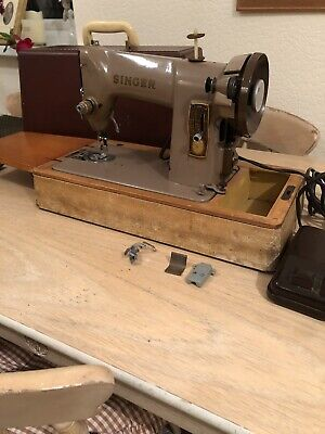 SINGER 185K 1950s ELECTRIC Sewing Machine w/ Case + Accessories