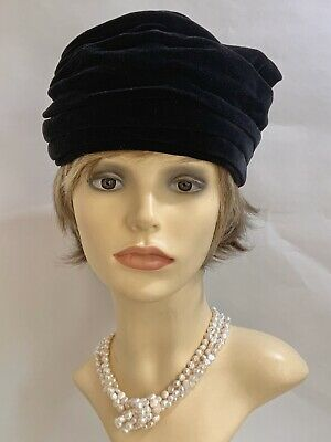 Vintage 1950s Black Velvet Turban Hat With Large Rear Bow 21 Inches Fully Lined.