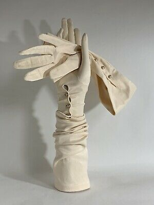 "Vintage 1950s Ivory Nylon Opera Gloves Three Pearl Button Closure  21 ""Size 6.5"