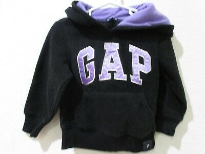 NWT Baby Gap Girls Black Purple Logo Hoodie FLEECE Sweatshirt 12-18m