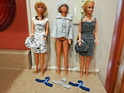 Hand Knit BARBIE SIZED Doll Clothes, 13 PIECES w/ Accessories, shades of Gray!