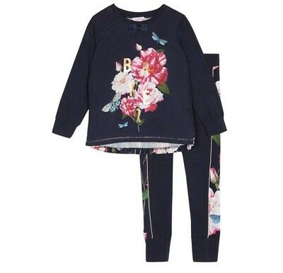 New Ted Baker Girls Navy Pyjama Set Nightwear Size 11-12 Years Rrp £35.
