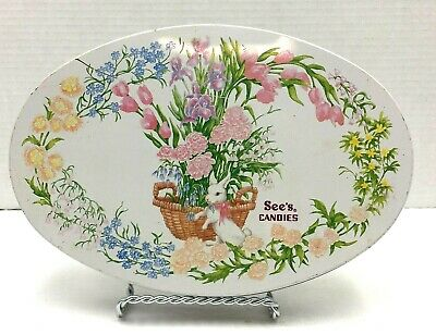Vintage See's Candies Oval Tin Box 1992 Easter Spring Tin Bunny Flowers