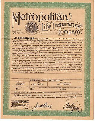 1916 Life insurance policy, Metropolitan Life Insurance Co. New York