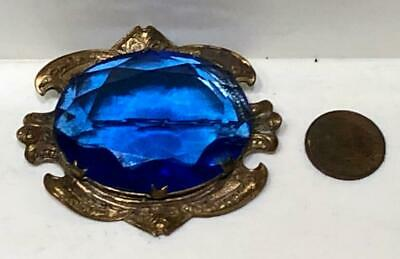 Large Antique Art Nouveau Blue Crystal Glass Pin