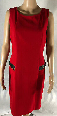 Calvin klein dress 12 , Red With Gold Zip, Leather Accents ,Sleeveless Back Slit