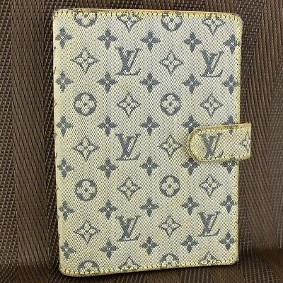 Auth LOUIS VUITTON AGENDA PM Notebook Cover Monogram Mini R20910 Blue