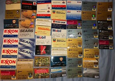 Rare Vintage 53 Collectable Credit cards from 1970s-1990s Visa Sunoco Mobile Sea