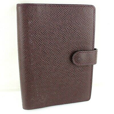 Auth LOUIS VUITTON AGENDA PM Notebook Cover Taiga Leather R20416 Acajou Wine Red