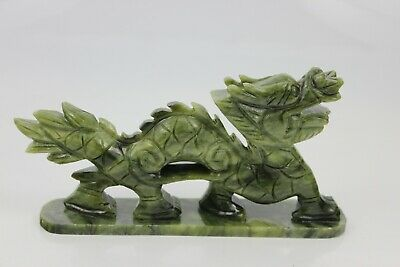 Antique Chinese Hand Craved Natural Jade Chinese Zodiac Dragon Sculpture 18cm