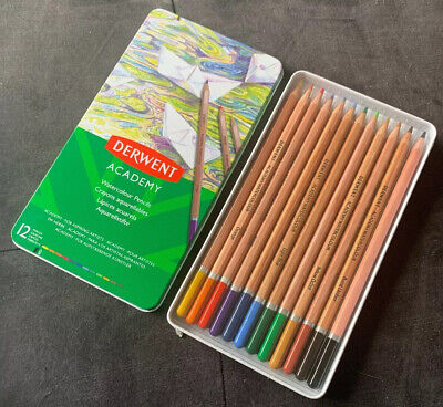Derwent Academy Watercolour Pencils Aquarelles Tin Of 12 Made in Britain NEW