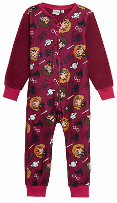 Harry Potter Boys Girls Fleece All In One Pyjamas Kids Hogwarts Charms Sleepsuit