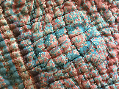 Antique French Fabric Provencal paisley Indigo resist quilted early 19th century