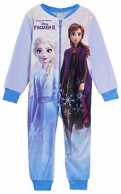 Disney Frozen 2 Girls Fleece All In One Pyjamas Kids Pjs Elsa Anna Sleepsuit