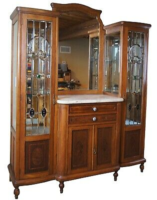 Antique 19th Century Oak Buffet Double Curio Bar Back Stained Glass Marble