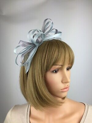 Light Pale Blue and Silver Grey Fascinator wedding Occasion Ascot Races Hat