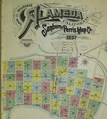 Alameda, California~Sanborn Map© sheets~92 maps on CD~1897 in full color