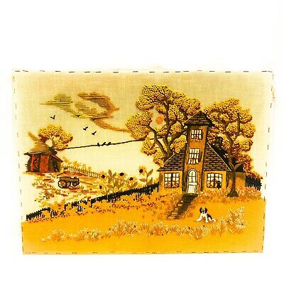 VINTAGE HAND EMBROIDERED PICTURE PANEL FLOWER Home Fall Colors Sewing Stitch
