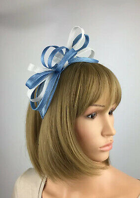 Cornflower Blue and White Fascinator wedding Occasion Ascot Races mother bride