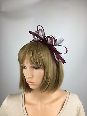 Burgundy and Grey Fascinator Ladies Day Ascot Races Mother Of The Bride Wedding