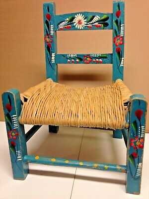 Vintage Blue Mexican Child's Doll Chair - Folk Art Painting, Rush Seat Excellent