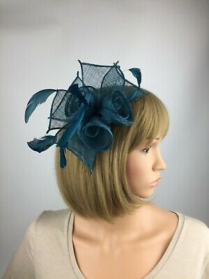 Teal Fascinator On Headband Teal Blue Green Wedding Occasion Races Ascot Races