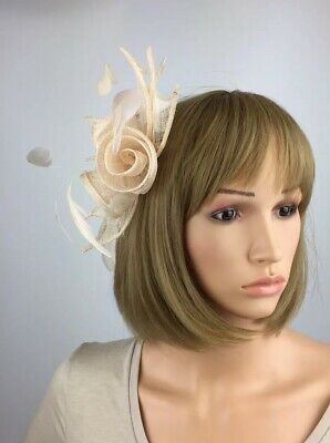 Pale champagne Nude fascinator Wedding Occasion Hatinator Mother Of The Bride
